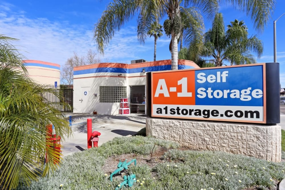Front sign at A-1 Self Storage in El Cajon, California