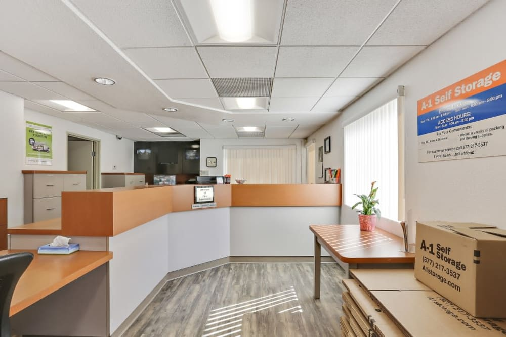 Inside our front office at A-1 Self Storage in San Diego, California