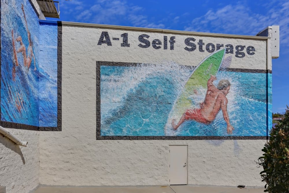 Murals on the outside of our building at A-1 Self Storage in San Diego, California
