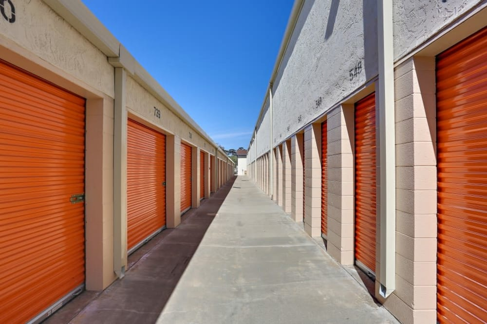 Outdoor storage units at A-1 Self Storage in Oceanside, California