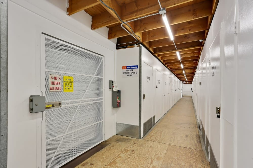 Row of indoor storage units at A-1 Self Storage in Oceanside, California