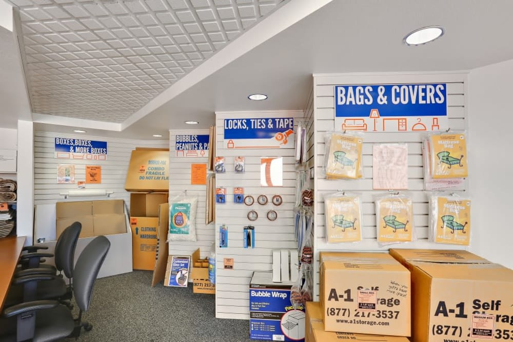 Storage supplies sold at A-1 Self Storage in Oceanside, California
