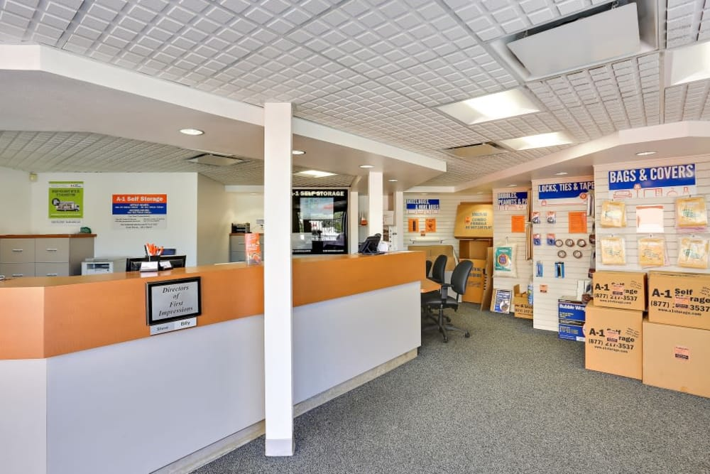 Inside the front office at A-1 Self Storage in Oceanside, California