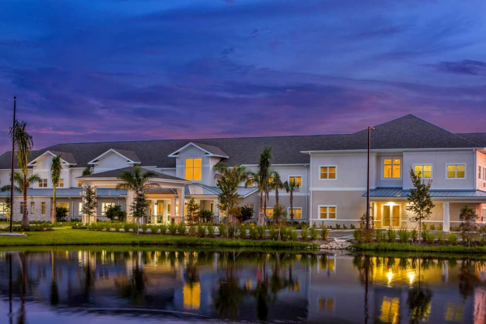 Night view of Heritage Oaks Assisted Living and Memory Care in Englewood, Florida