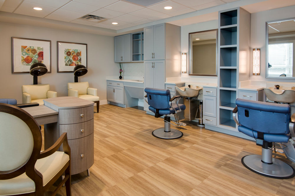 Beauty salon at Heritage Oaks Assisted Living and Memory Care in Englewood, Florida