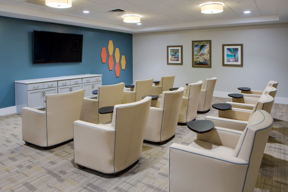Spacious movie teather at Heritage Oaks Assisted Living and Memory Care in Englewood, Florida