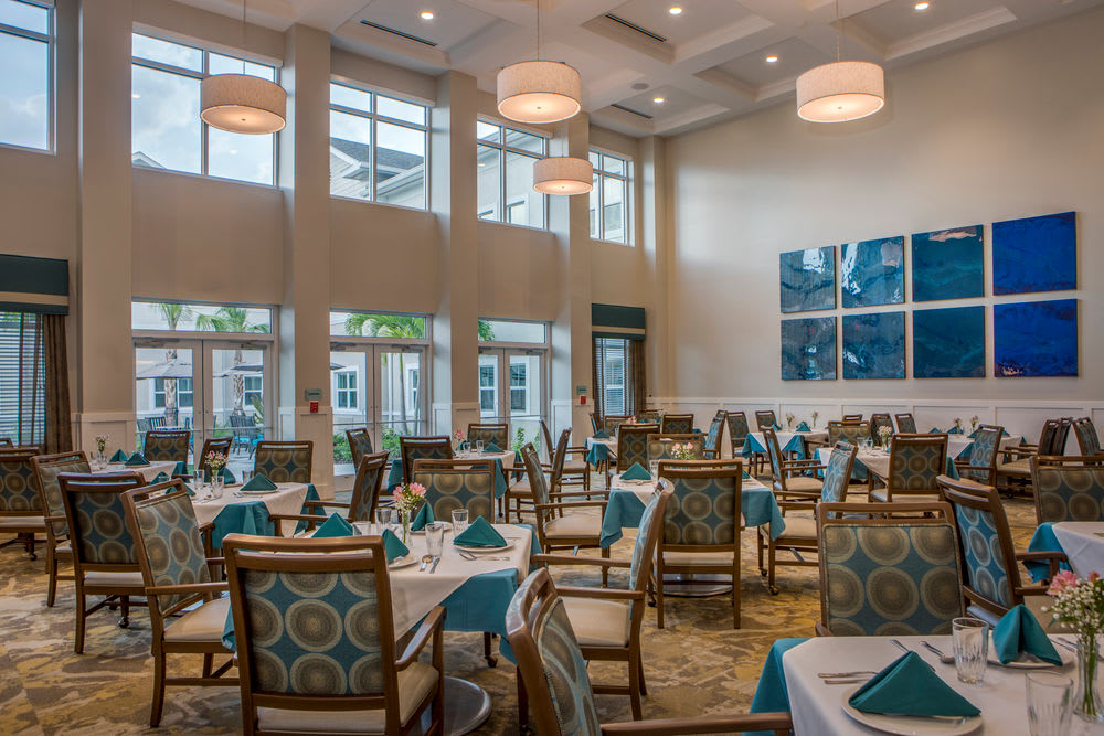 Dining room for our residents at Heritage Oaks Assisted Living and Memory Care in Englewood, Florida