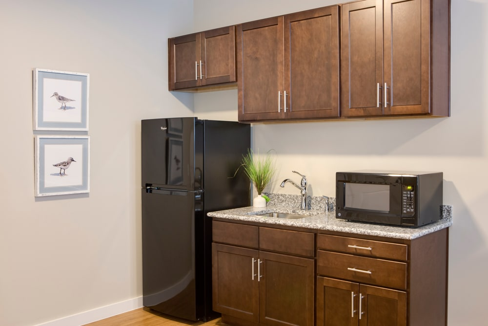 Refrigerator and microwave at Heritage Oaks Assisted Living and Memory Care in Englewood, Florida
