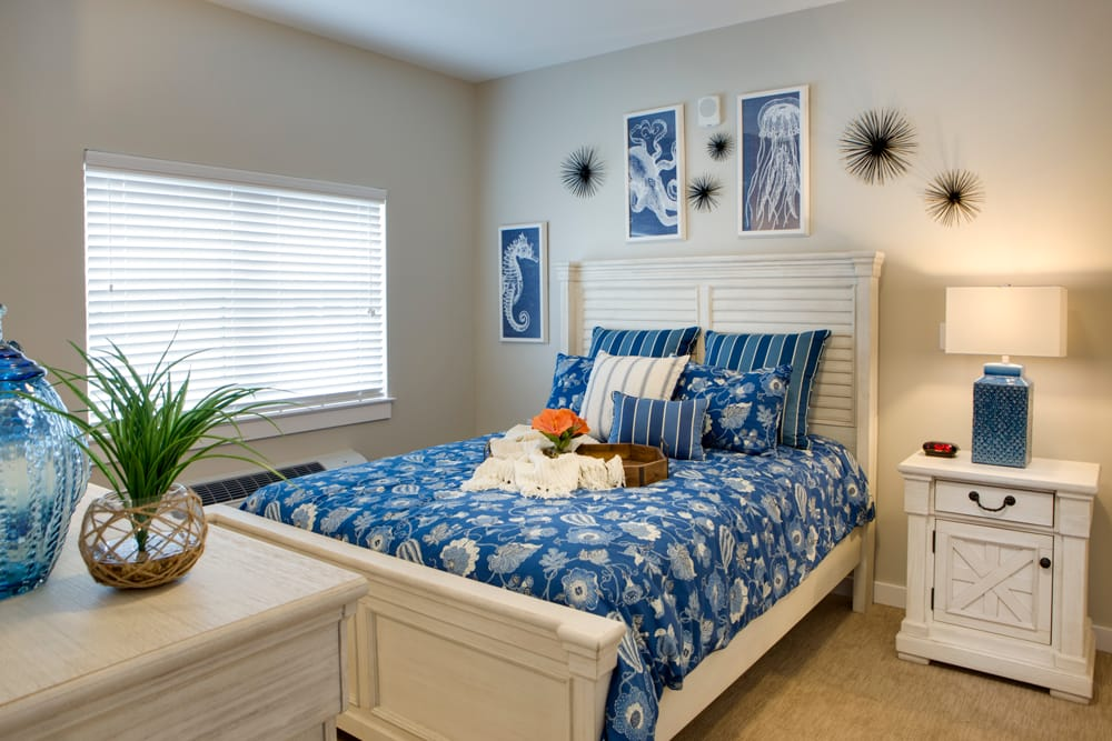 Beautiful bedroom at Heritage Oaks Assisted Living and Memory Care in Englewood, Florida