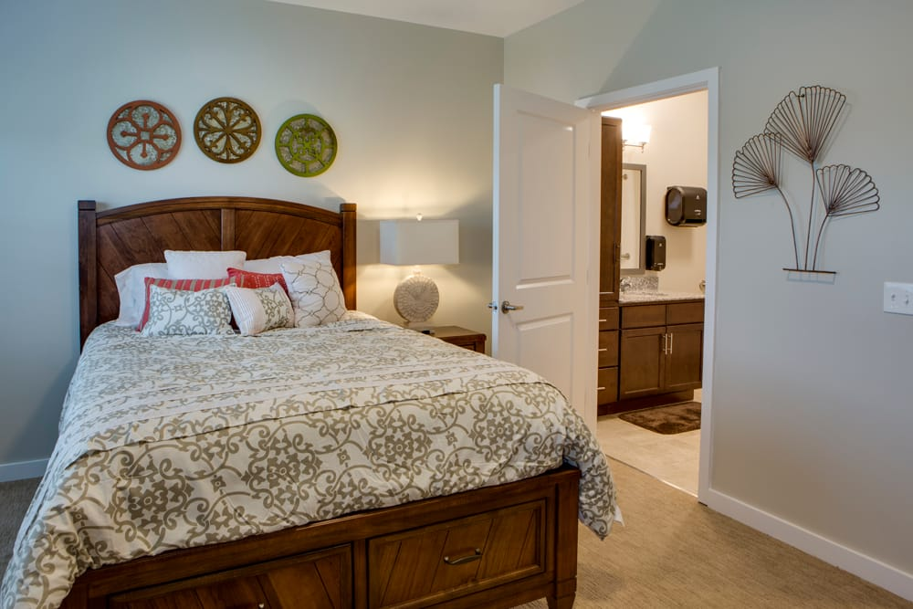 Model bedroom at Heritage Oaks Assisted Living and Memory Care in Englewood, Florida