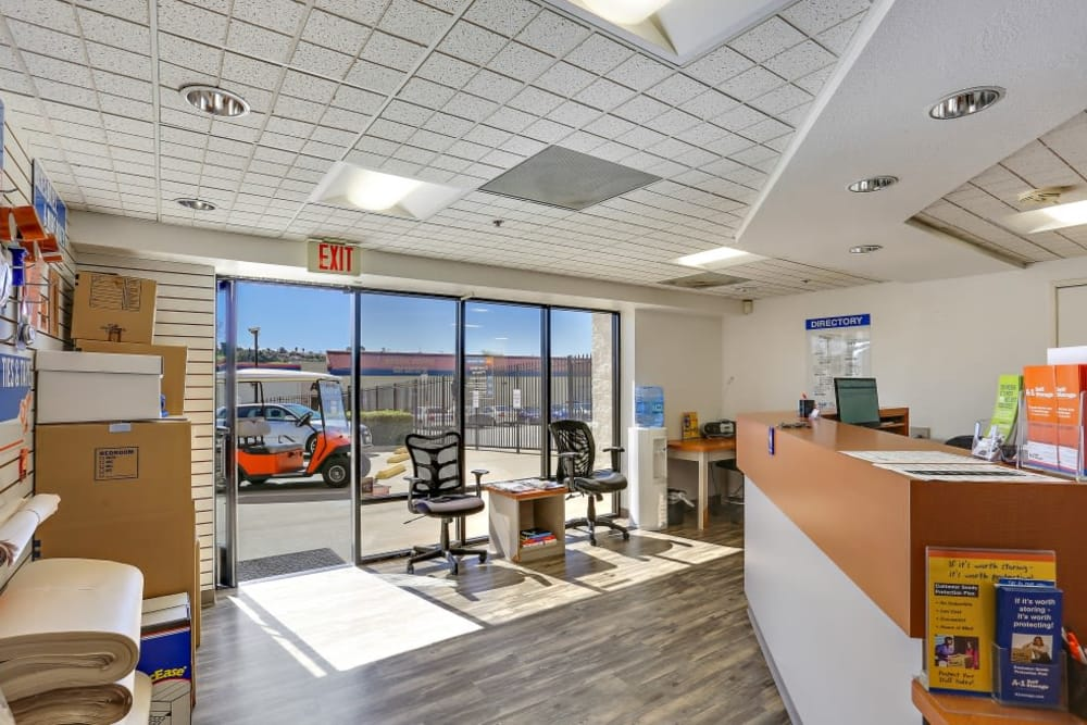 Inside our front office at A-1 Self Storage in Oceanside, California