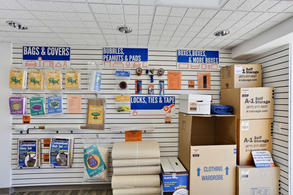 Packing supplies sold at A-1 Self Storage in Oceanside, California