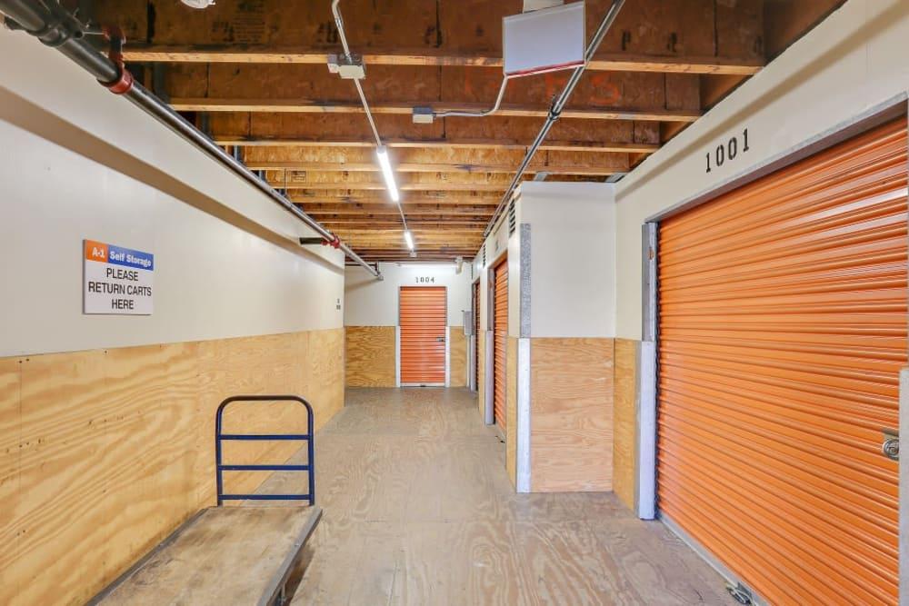 Indoor storage units at A-1 Self Storage in Oceanside, California