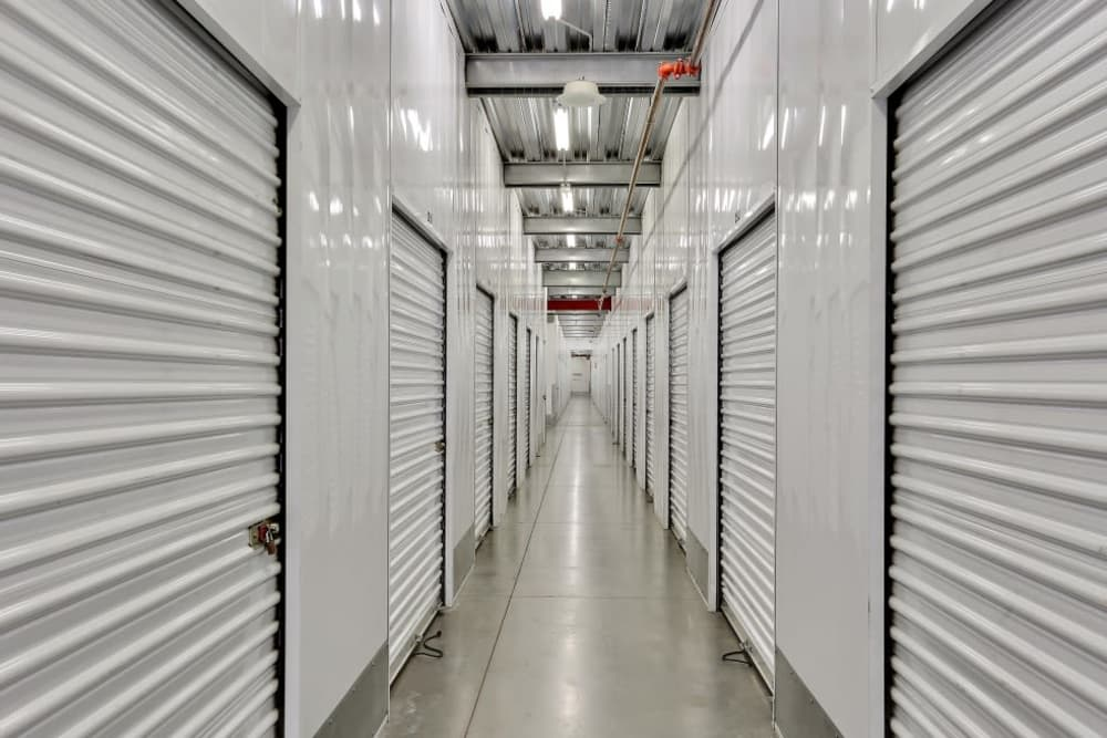 Row of indoor storage units at A-1 Self Storage in Vista, California