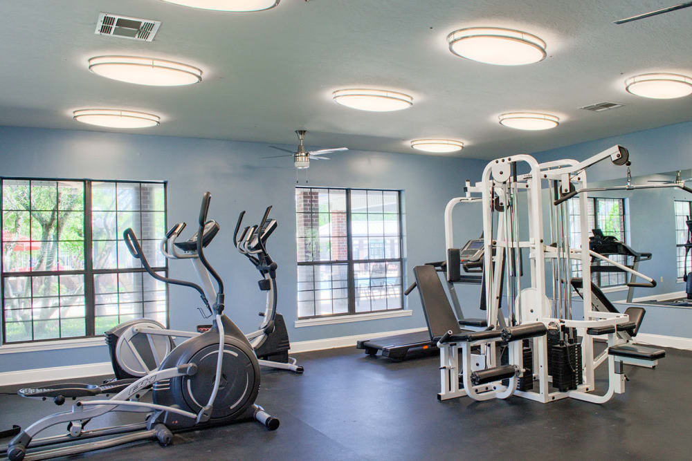 Fully equipped fitness center at Oxford Point in Gulfport, Mississippi