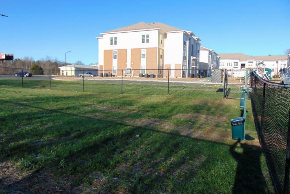 Dog park at Watercourse Apartments in Graham, North Carolina