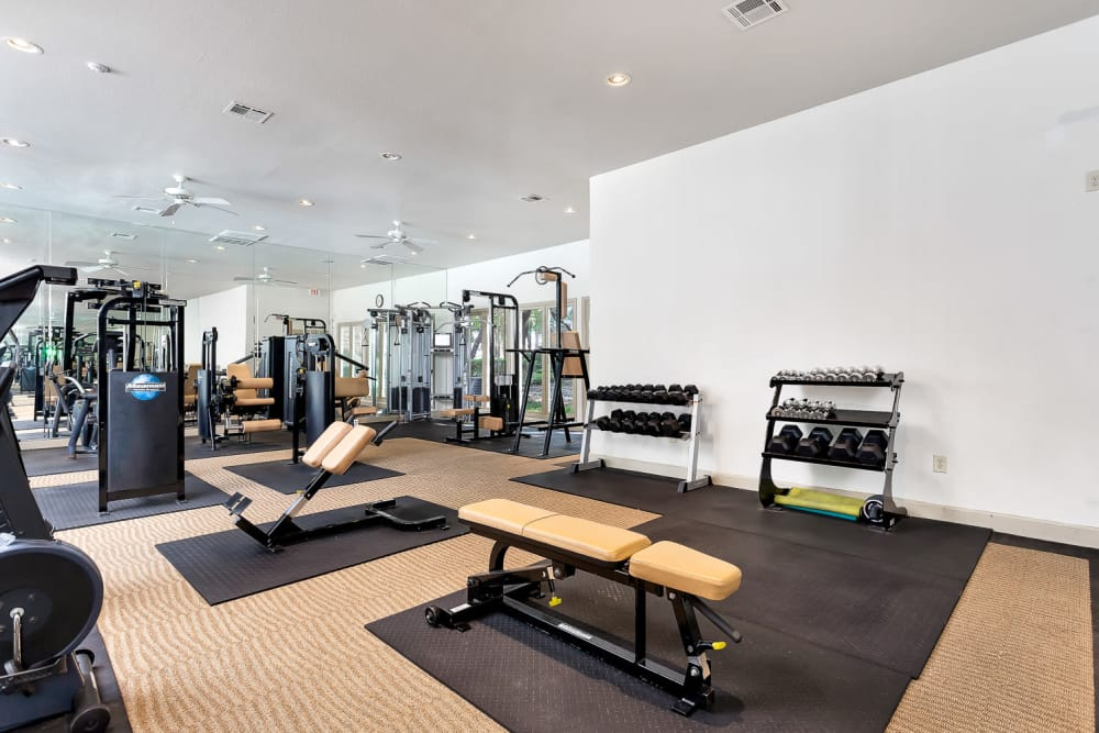 Well equipped fitness center at The Lodge at Westover Hills in San Antonio, Texas