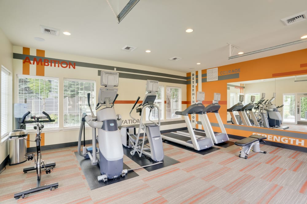 Fully equipped fitness center at Big Trout Lodge in Liberty Lake, Washington