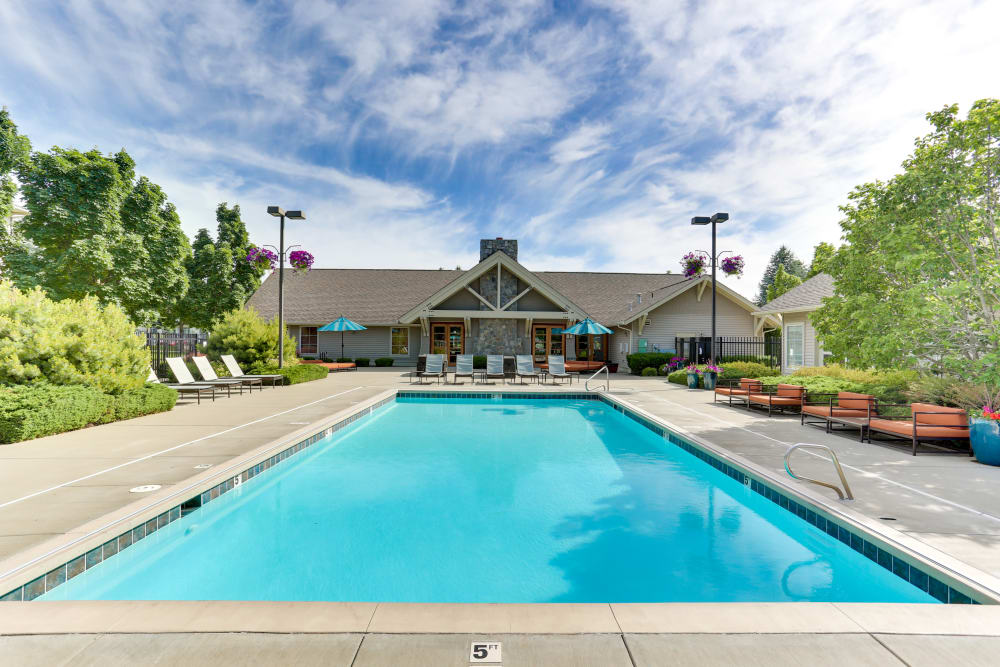 Beautiful swimming pool at Big Trout Lodge in Liberty Lake, Washington