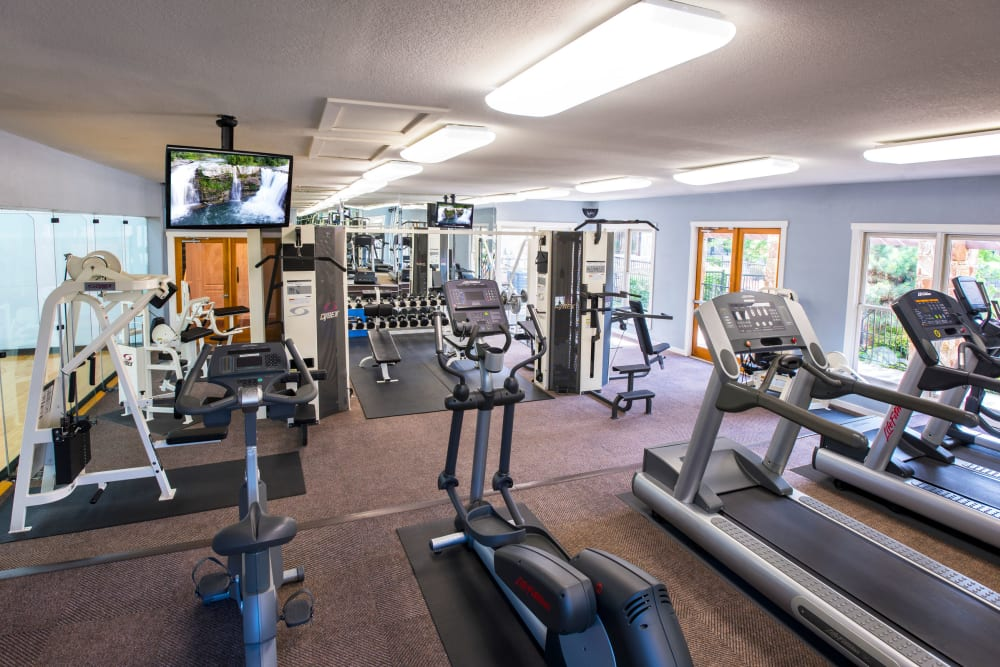 Well equipped fitness center at El Lago Apartments in McKinney, Texas