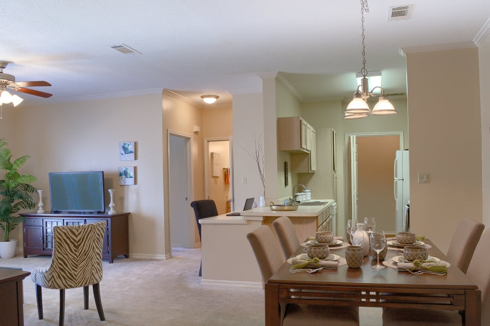 Open concept floor plan at Oxford Point in Gulfport, Mississippi