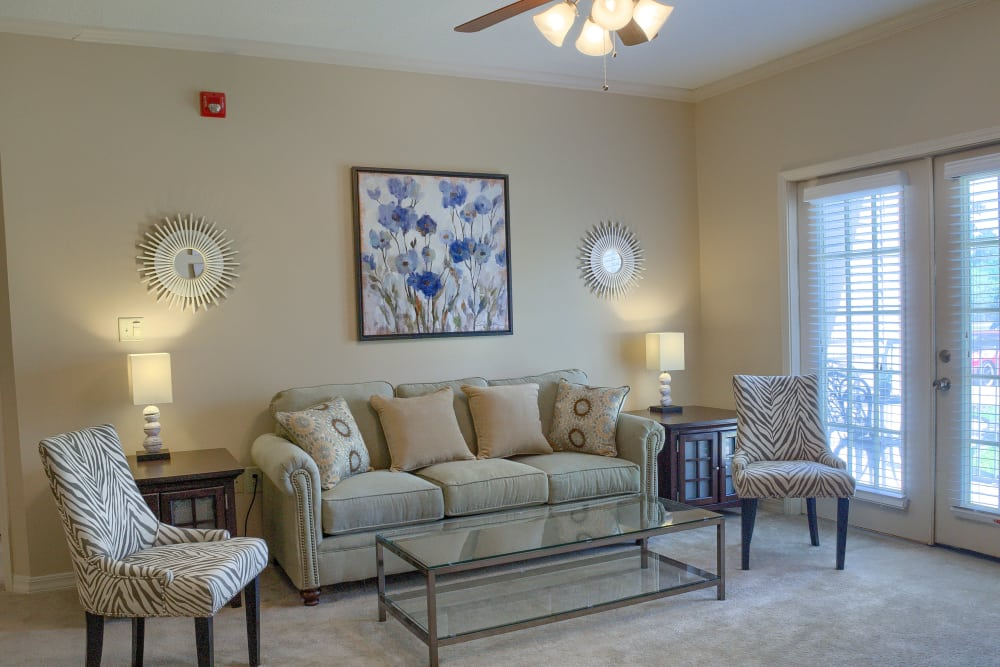 Living room couch at Oxford Point in Gulfport, Mississippi