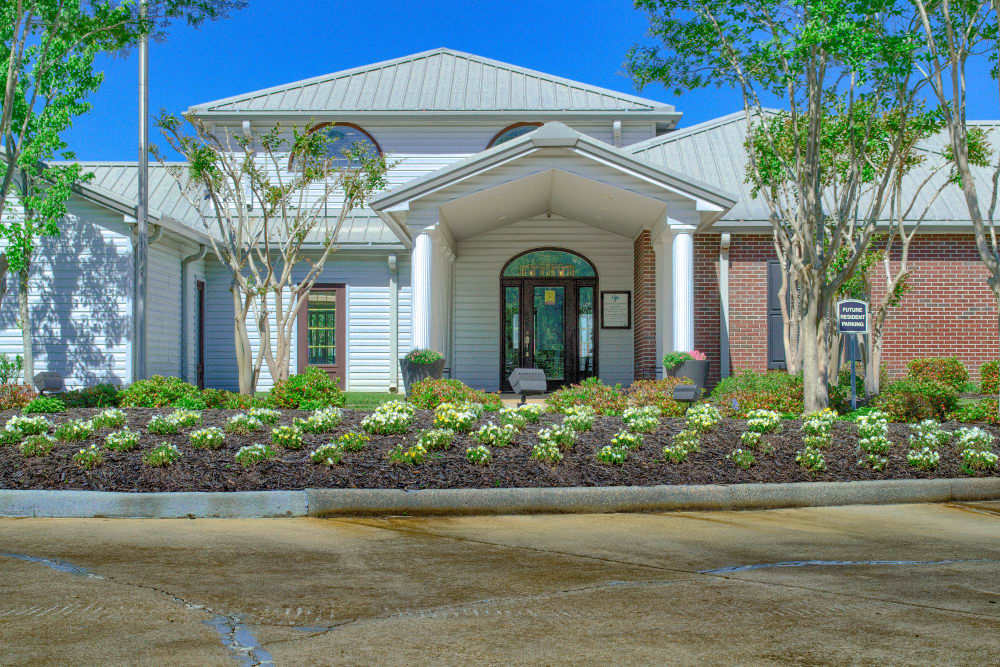 Resident clubhouse entrance at Oxford Point in Gulfport, Mississippi