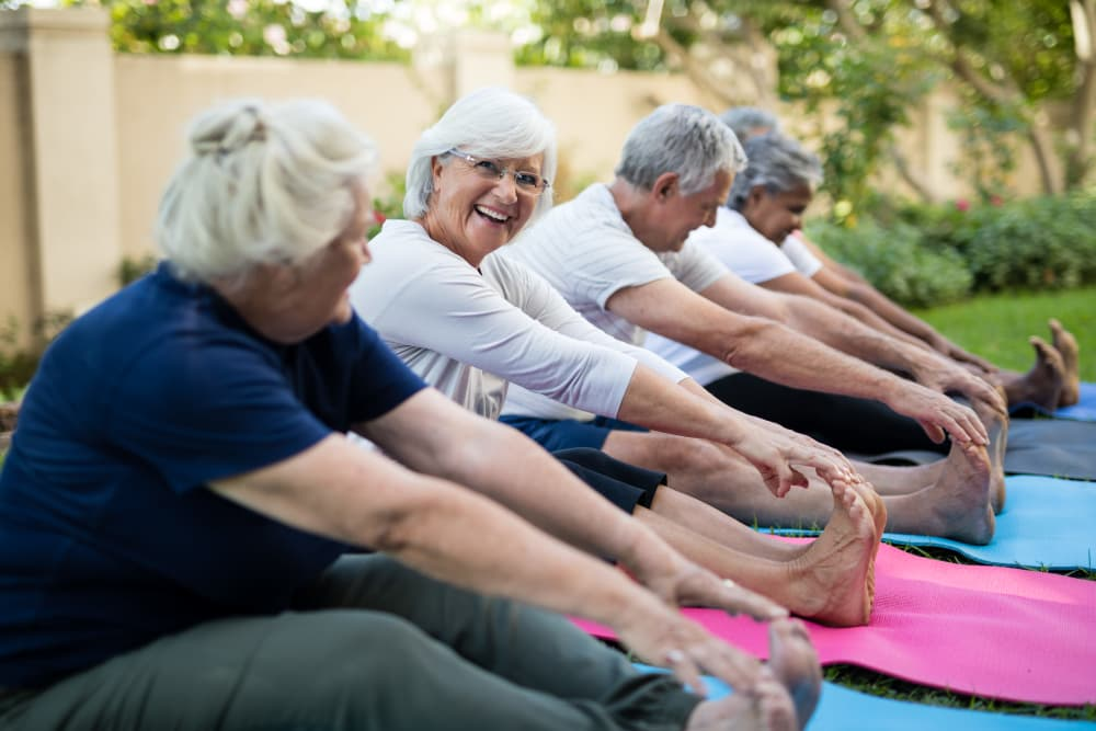 Senior residents doing exercises at Pacifica Senior Living Vista in Vista, California