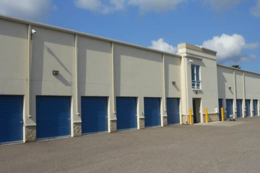 Exterior of climate controlled storage units at Compass Self Storage in Tavares, Florida