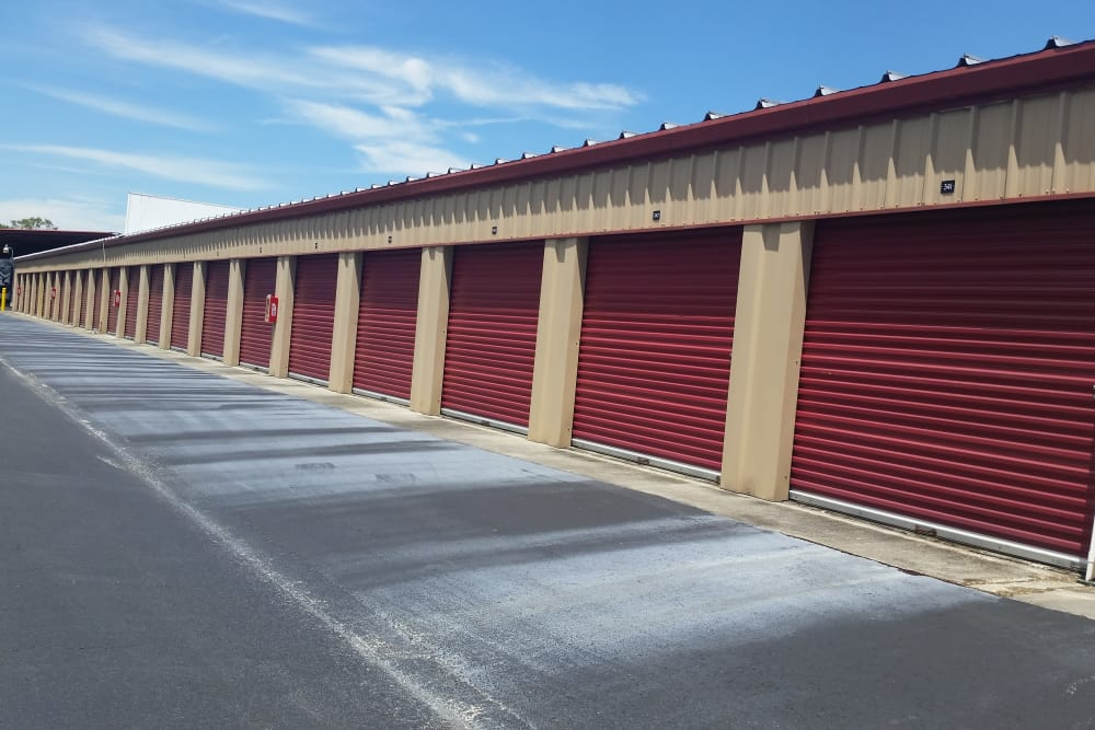 Exterior view of storage units at Compass Self Storage in Tavares, Florida