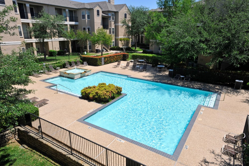 Aerial view of our swimming pool at Briargrove at Vail in Dallas, Texas