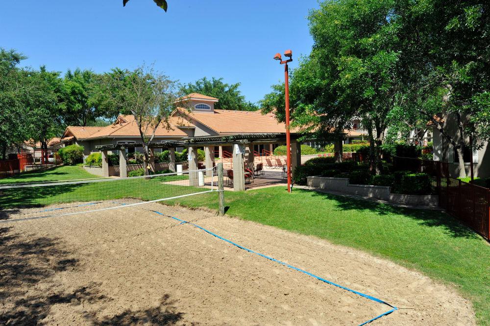 Volleyball court at Rancho Palisades in Dallas, Texas