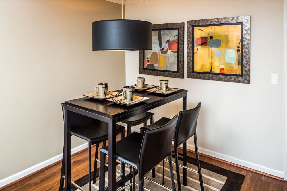 Dining room table at Enclave at Highland Ridge in Columbus, Georgia