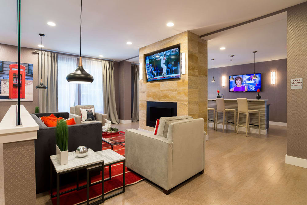 The Verano offers a luxury living room and kitchen in Stamford, Connecticut