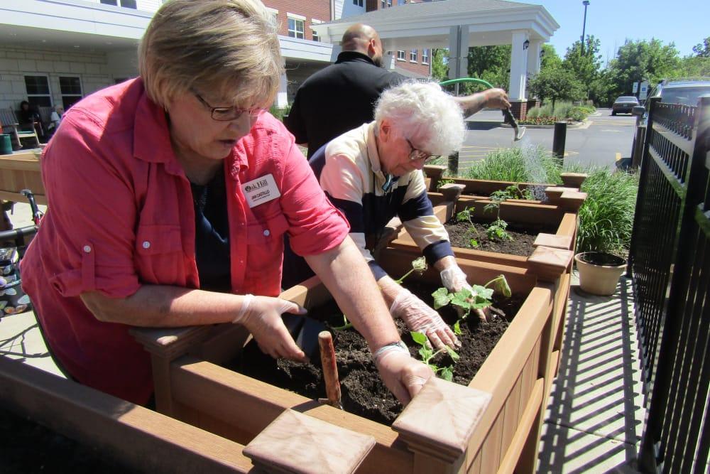 senior residents enjoying gardening
