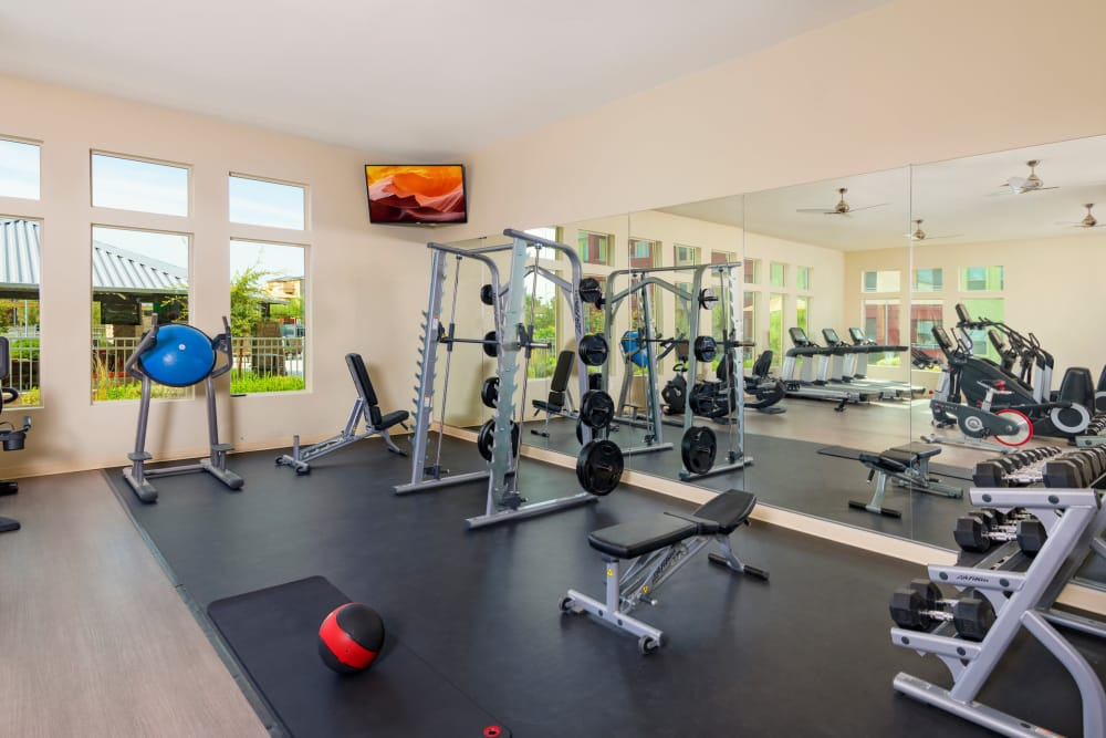 Fully equipped fitness center at Southern Avenue Villas in Mesa, Arizona