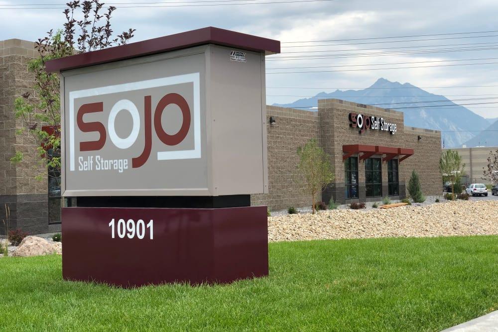 Storage front sign at SOJO Self Storage in South Jordan, Utah