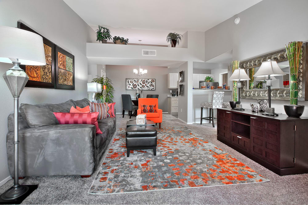 Cielo Apartment Homes showcase a state-of-the-art living room in Henderson, Nevada