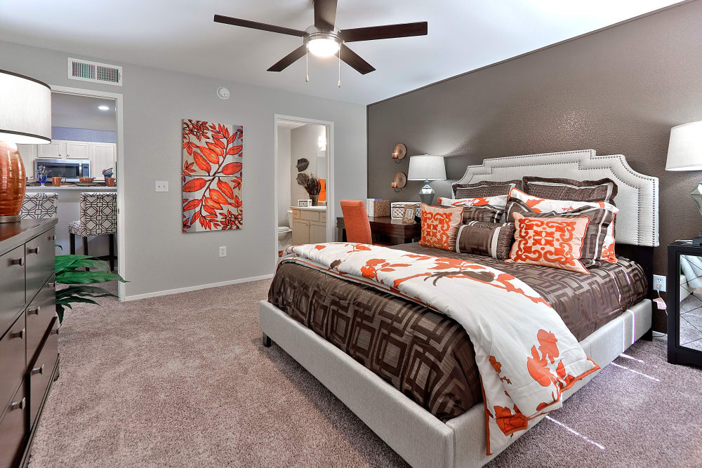 Cozy bedroom at Cielo Apartment Homes in Henderson, Nevada