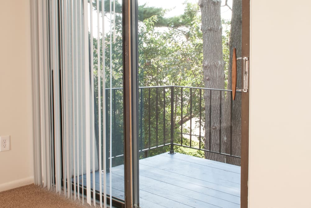 View of private balcony from model home's living area at Pine Ridge in Lindenwold, New Jersey