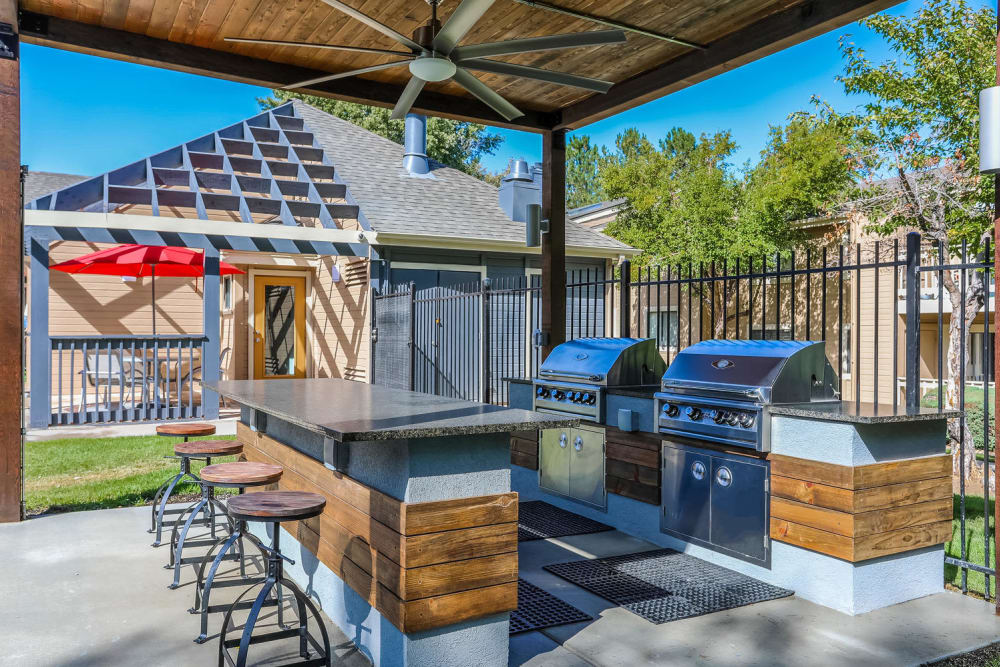 Outdoor grilling at City Center Station Apartments in Aurora, Colorado