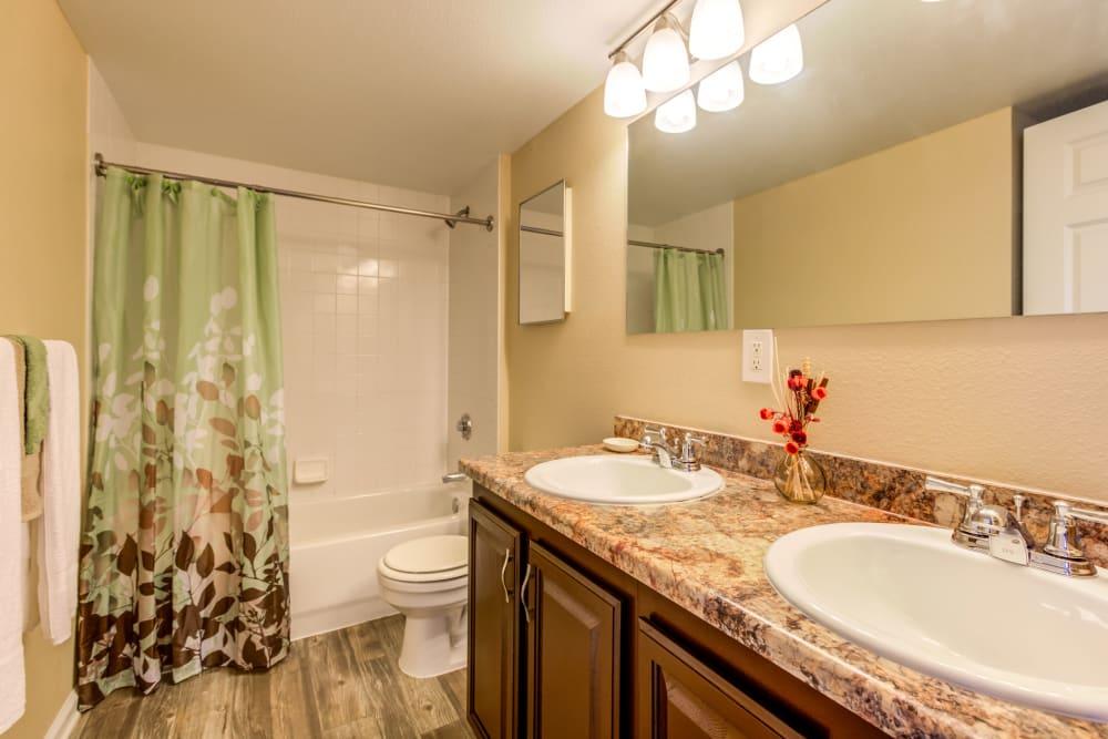 Bathroom at Belle Creek Apartments in Henderson, Colorado