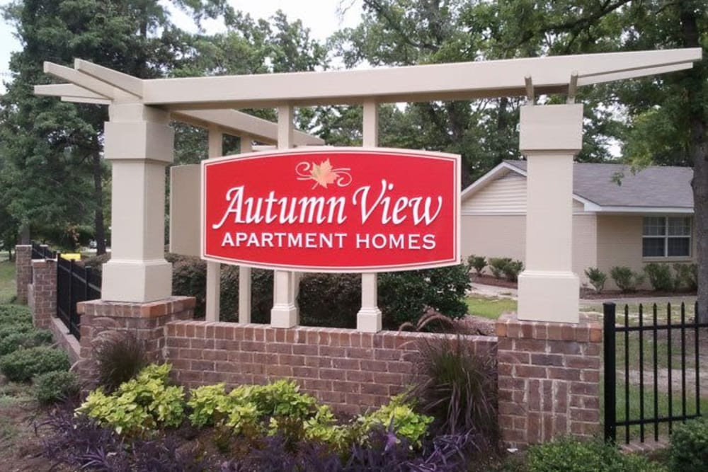 Monument sign at Autumn View Apartments in Fayetteville, North Carolina