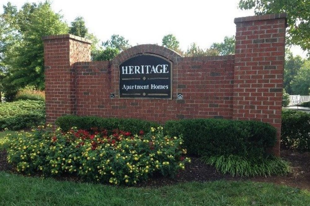 Sign at Heritage Apartments in Hillsborough, North Carolina