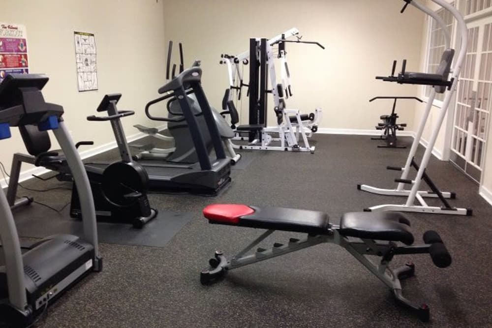Fitness center at Heritage Apartments in Hillsborough, North Carolina