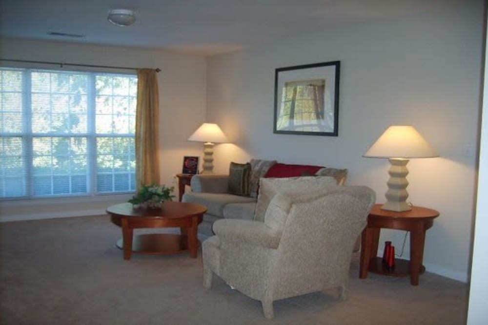Living room at Heritage Apartments in Hillsborough, North Carolina