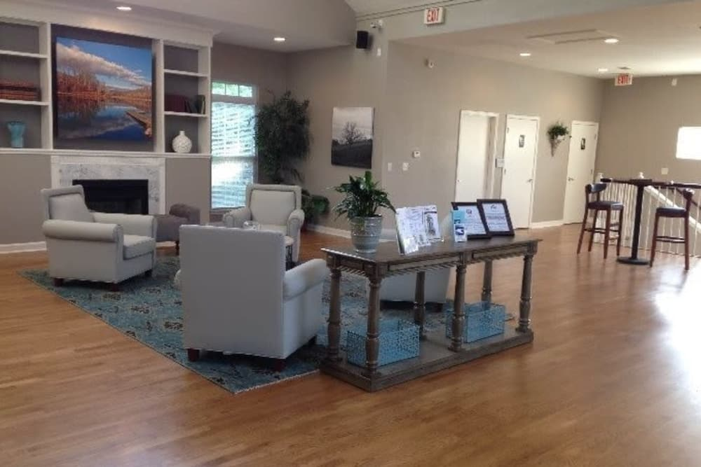 Spacious clubhouse at Heritage Apartments in Hillsborough, North Carolina