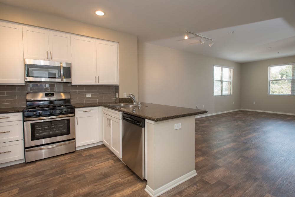 Kitchen and living room layout at Paragon at Old Town in Monrovia, California