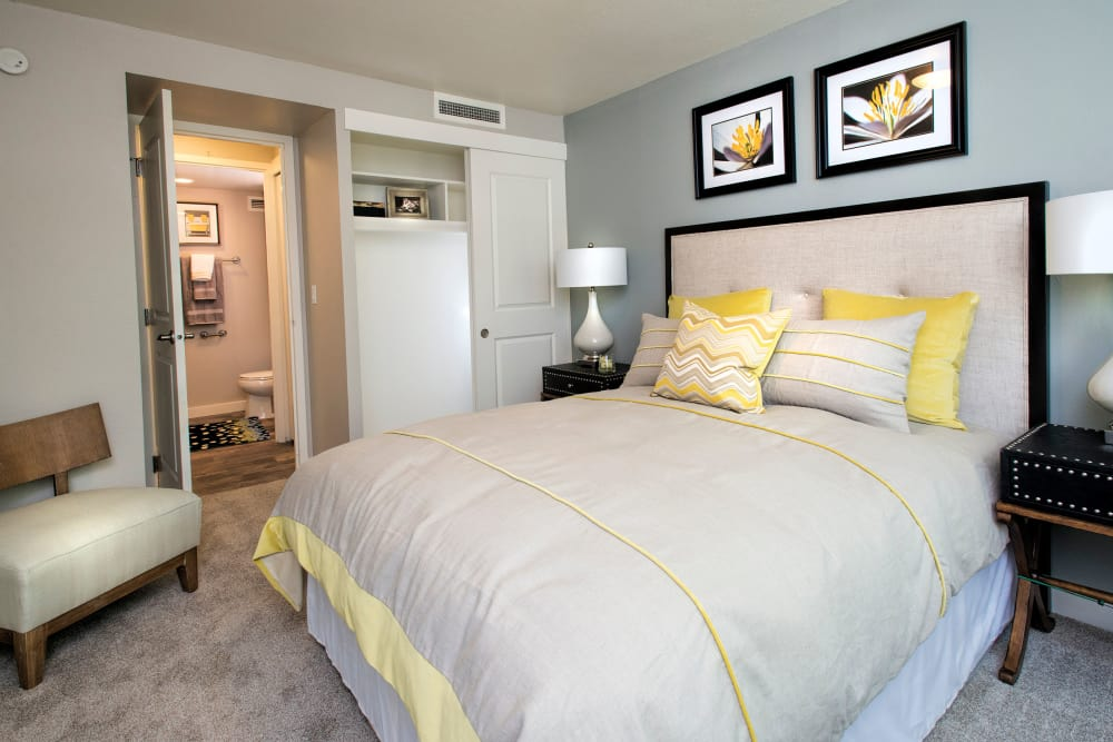 Master bedroom layout at Harrison Tower in Portland, Oregon
