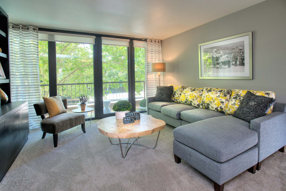 Living room layout at Harrison Tower in Portland, Oregon
